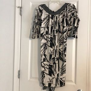 BCBG Maxazria black and white print dress